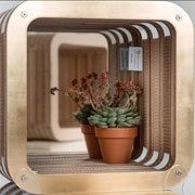 More-Reflections: cardboard bookcase with mirror by Lessmore - design Giorgio Caporaso