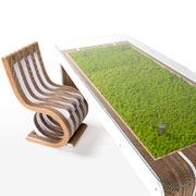 MorePlus-Desk - cardboard desk with moss by Giorgio Caporaso for Lessmore